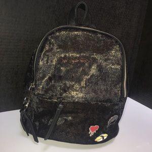 Gold glittered velvet Steve Madden backpack!